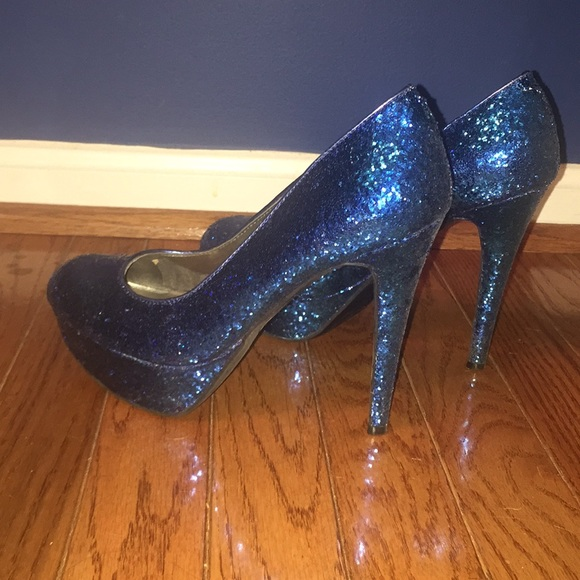 blue sparkly heels shoes